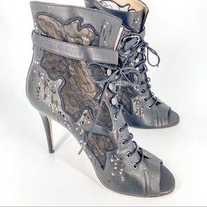 Valentino Garavani Black Leather Laced Up Peep Toe Heels Size 39